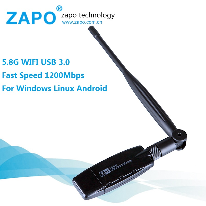 zapo powerful 5 8g dual band wifi usb 3 0 adapter 1200mbps. Black Bedroom Furniture Sets. Home Design Ideas