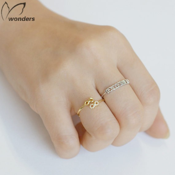 Fashion Friendship Rings Double Infinite Symbols Open End Ring