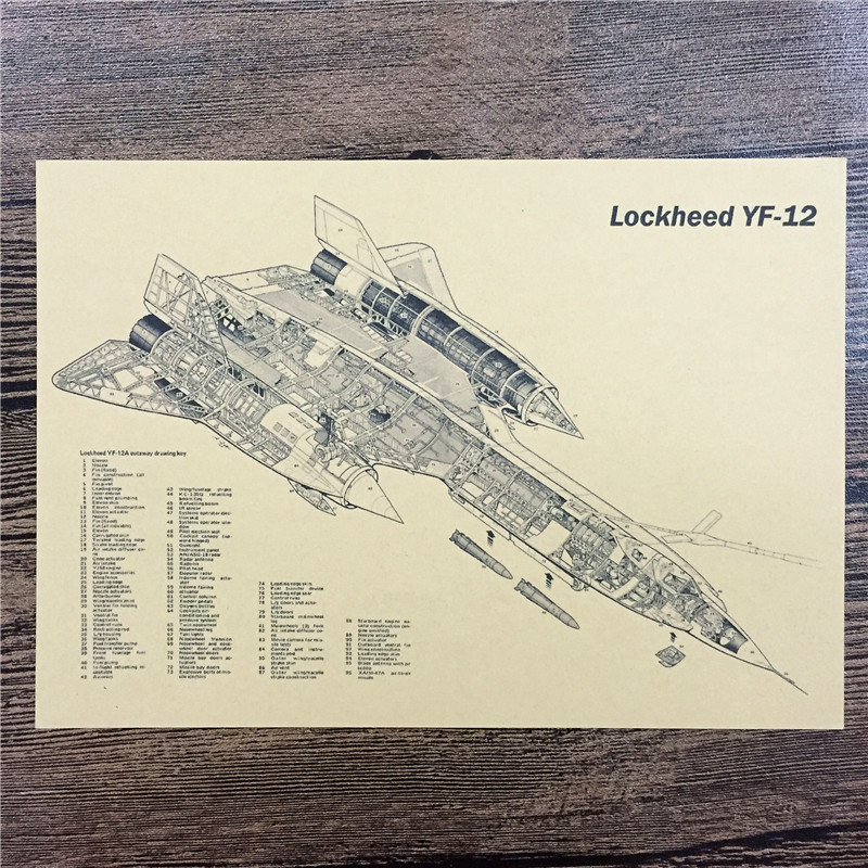 Direct selling FJ-273 retro kraft paper Lockheed YF-12 wall stickers home decor living room poster sticker for kids 42x30 cm