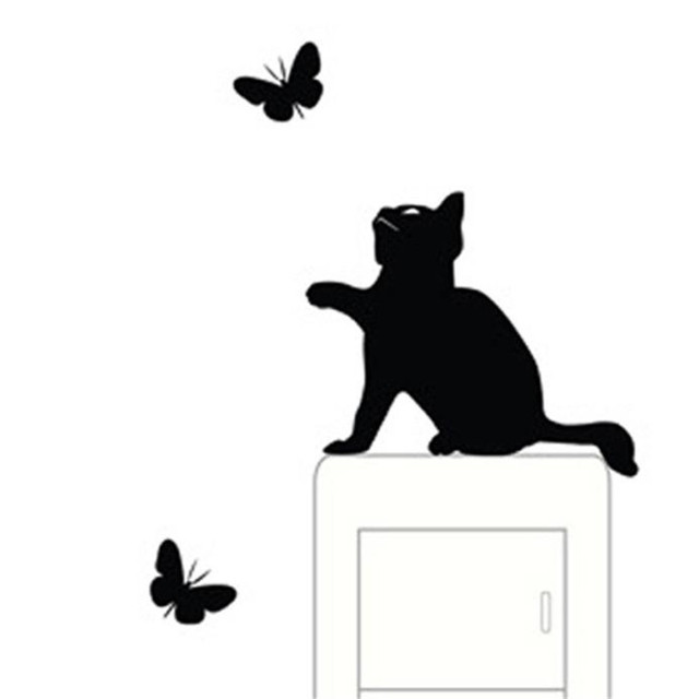 New Cat Wall Stickers Light Switch Decor Decals Room Window Wall