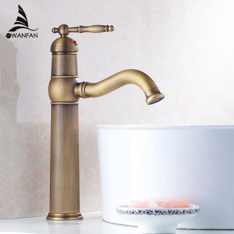 Basin Faucets Antique Brass Bathroom Sink Faucet Single Lever Faucet For Bath Hot and Cold Washbasin Mixer Tap WC Taps ZLY-6631 bathroom golden dual handle taps washbasin sink faucets hot and cold water mixer faucet
