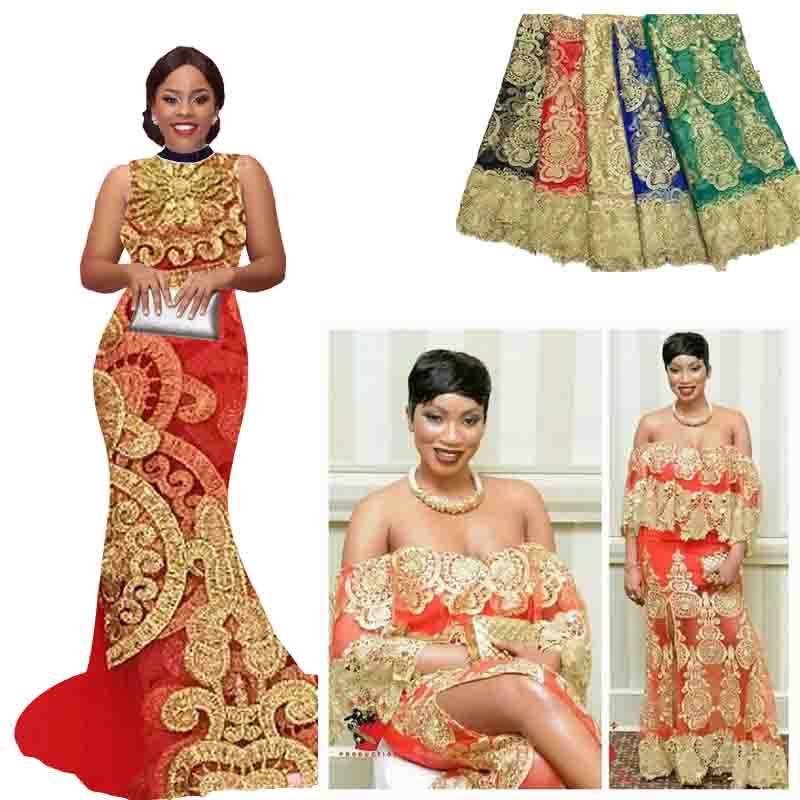 Buy gold french lace style high quality for African dresses styles for wedding