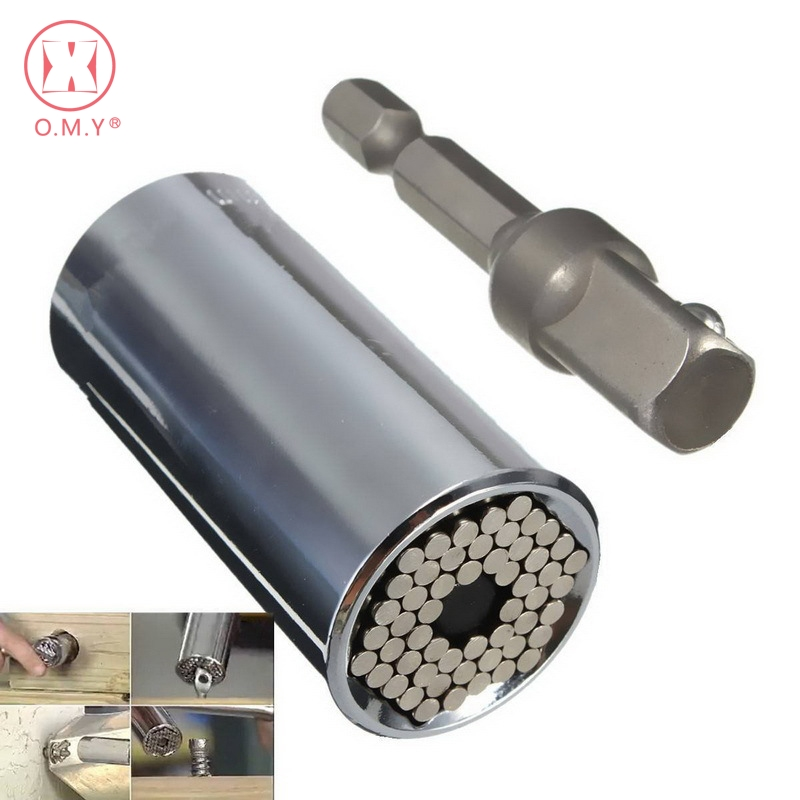OMY Universal llave de torsión cabeza Socket manga 7-19mm Power Drill trinquete buje llave magia Grip multi herramientas de mano