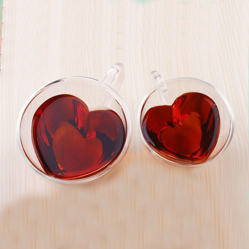 Image 5 - Heart Love Shaped Double Wall Glass Mug Resistant Tea Beer Mug Milk Lemon Juice Cup Drinkware Lover Coffee Cups Mug Gift-in Transparent from Home & Garden