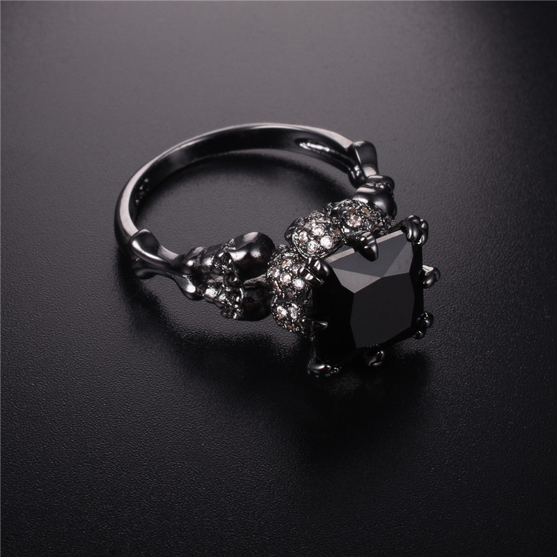 Jeulias Skull Ring Solid 100% 925 Sterling Silver Black gold obsidian diamond Womens Wed ...