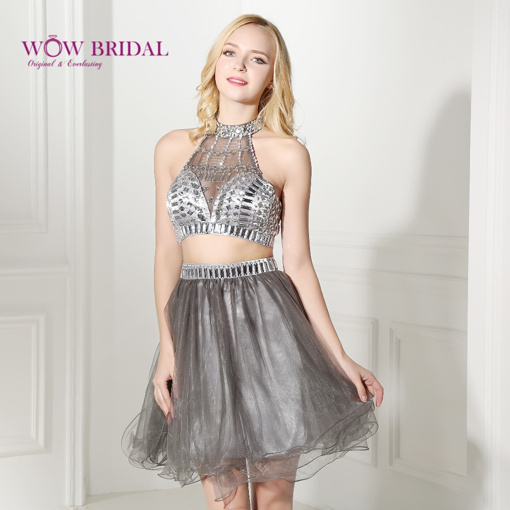 Wowbridal Silver Short Homecoming Dresses 2016 Halter Beaded Open Back Chiffon Two Piece 8th