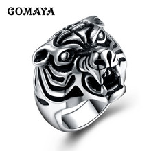 GOMAYA Power Tiger Rings for Men 316L Stainless Steel Ring Top Quality Animal Biker Fashion Jewelry Bague