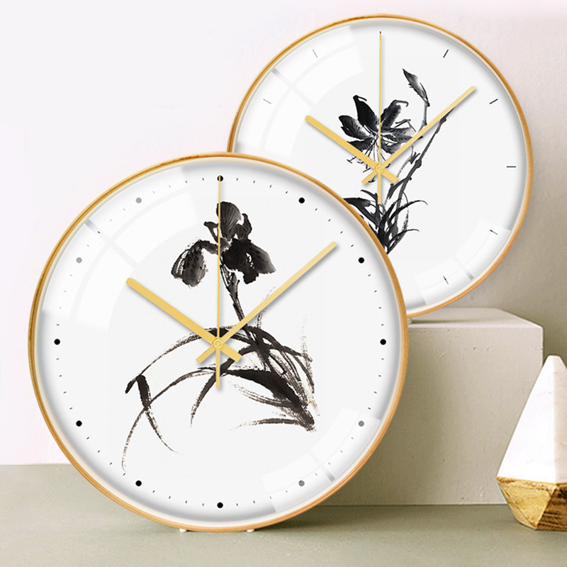 New Chinese orchid ink painting silent scanning fashion atmosphere wood clock wall clock modern popular decorative clock mi O303