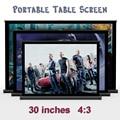 30 polegadas 4:3 branco tecido de fibra de vidro portátil mesa / mesa tela de projeção tela para Cinema em casa de chão, Reunião