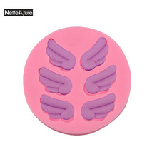 Free Shipping 1Pcs Silicone Fondant Cake Mold Angle's Wings Pattern Birthday/Wedding Cake Decorating Tools Kitchen DIY Bakeware