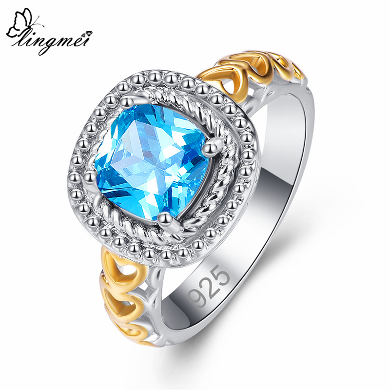 lingmei New Princess Gold Heart Design Multicolor Sea Blue CZ Silver Color Ring Size 6 7 8 9 Wedding Women Jewelry Lover Gift in Engagement Rings from Jewelry Accessories