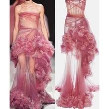 2019 Latest Fashion Show Runway Dress Sweet Pink Sheer Mesh Long Dress