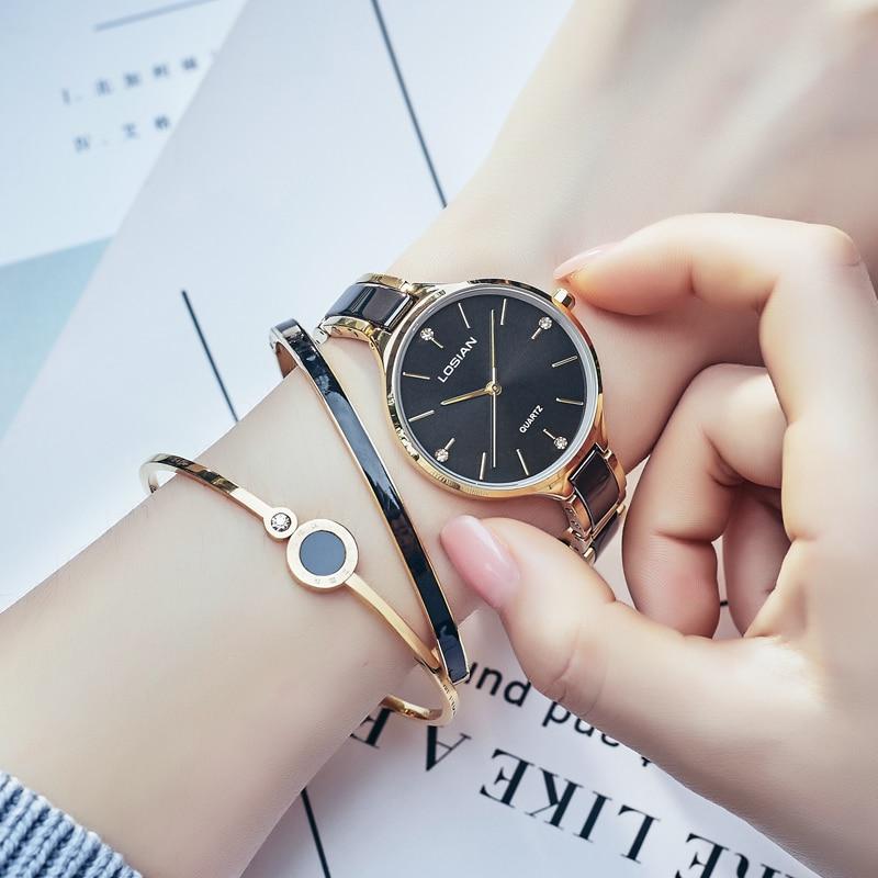 Losian для женщин часы 2018 Новая мода водостойкие часы керамика для женщин золотые наручные часы для женщин Элитный бренд Relogio Dourado