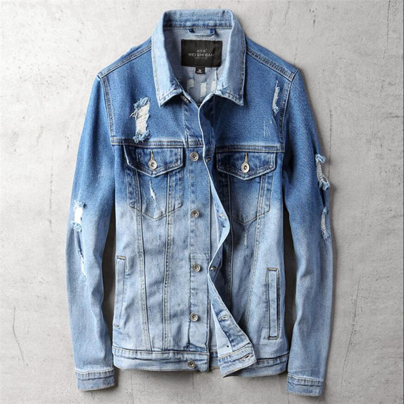Hole Casual Mens Jackets Slim Fit Gradual Change Jeans Jacket Denim Men Spring Autumn Men Jackets Jackets And Coats 4XL A5424