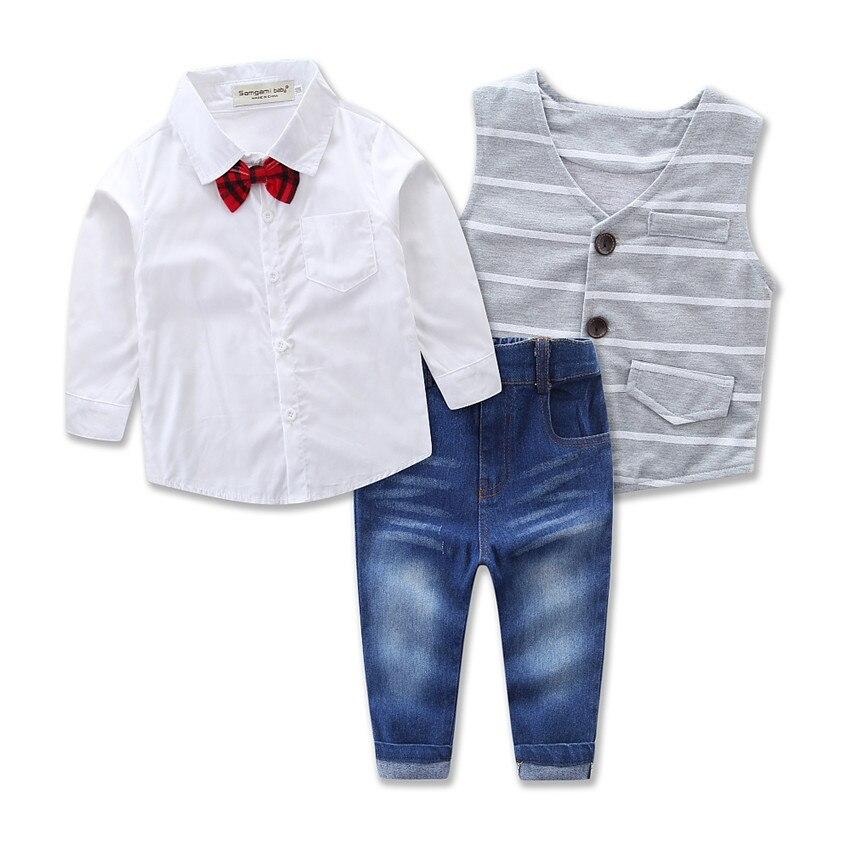 a7e434e2 Barnas klær sett for våren baby boy dress med lange armer rutete skjorter + bil  utskrift ...