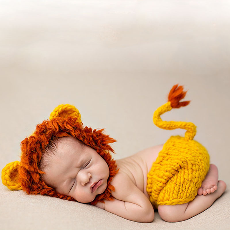 Mane Lion Outfits Baby Crochet Set(Pant&Hat)Handmade Woolen Beanie Knitted Clothes Baby Photo Props Newborn Infant Costume cap Y