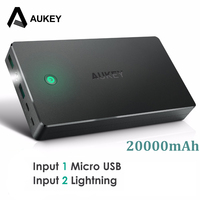AUKEY 20000mah Power Bank Dual USB Portable Charger External Battery Mobile Phone Powerbank For Xiaomi IPhone