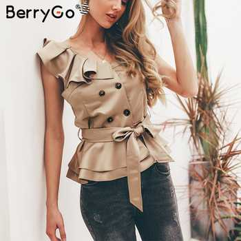 BerryGo Sexy one shoulder irregular women camis tops Summer ruffle sashes khaki silk tanks blusas Elegant party female camisoles - DISCOUNT ITEM  48% OFF All Category