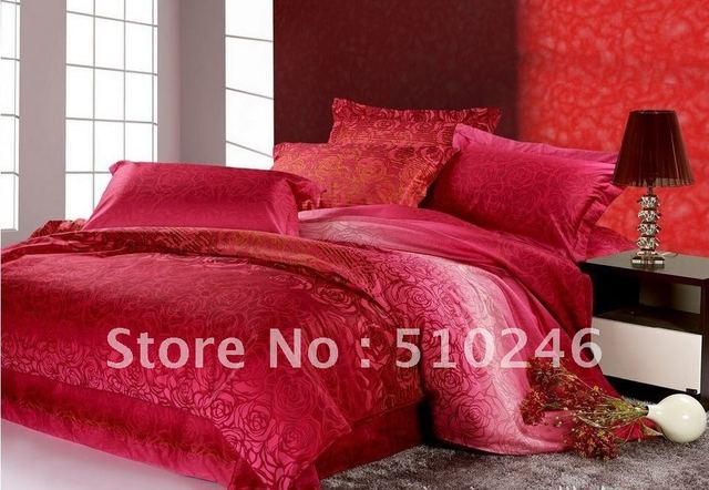 free shipping 4pcs 40s cotton satin rose printed wedding livingroom bedding set duvet cover set comforter sheet set