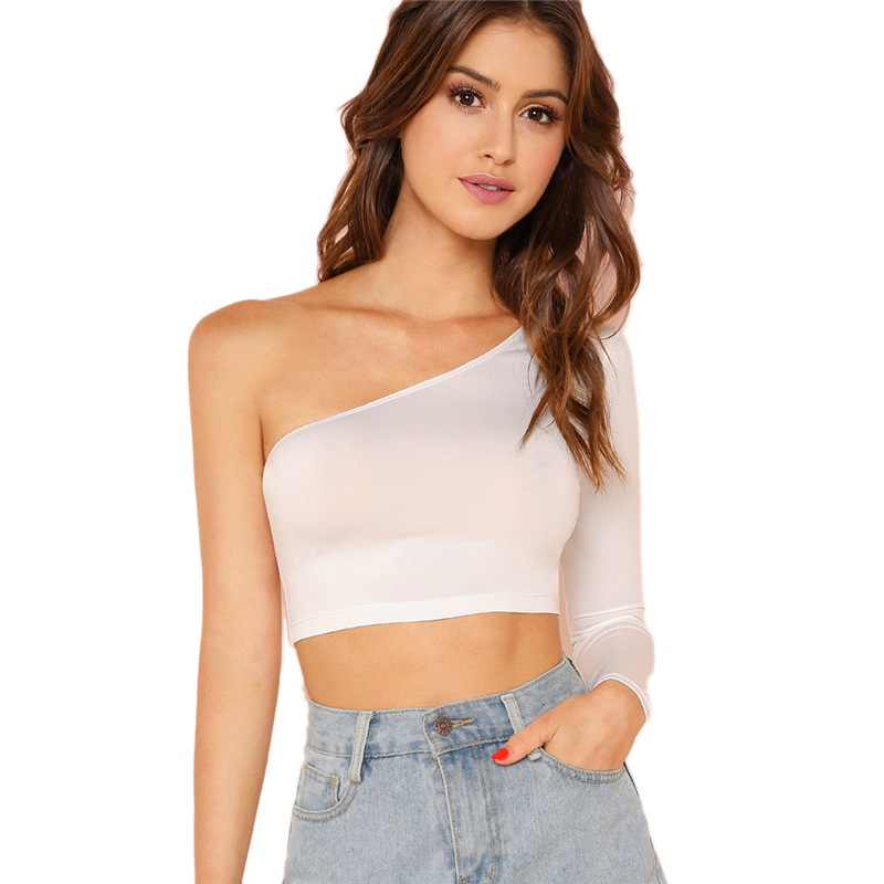 86039ed6f SHEIN Solid White One Shoulder Crop Tee Sexy Party Slim Fit Going Out T- shirt Autumn Plain Long Sleeve Womens Tee Shirts