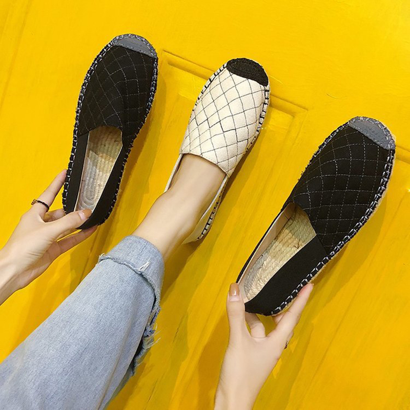 Pescador negro Lona Slip Retro Confort Las Mocasines Mujeres Zapatos Plaid Casual on De Plataforma Costura Knitt Planos Paja Beige Alpargatas 1wqHS0