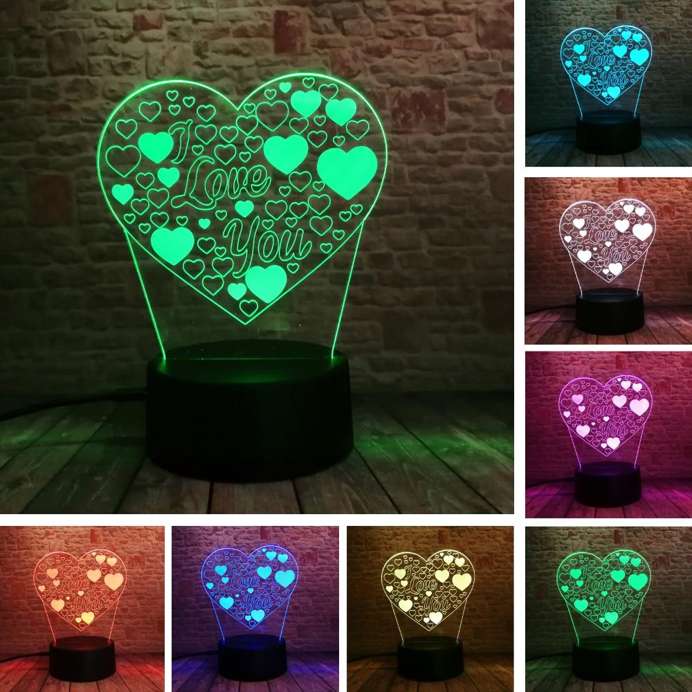Amroe 3d الوهم الحب القلب بقيادة مصباح مع أحبك 7 لون فلاش rgb مصباح الليل كما زوجين و عشاق عيد الميلاد لعبة الهدايا