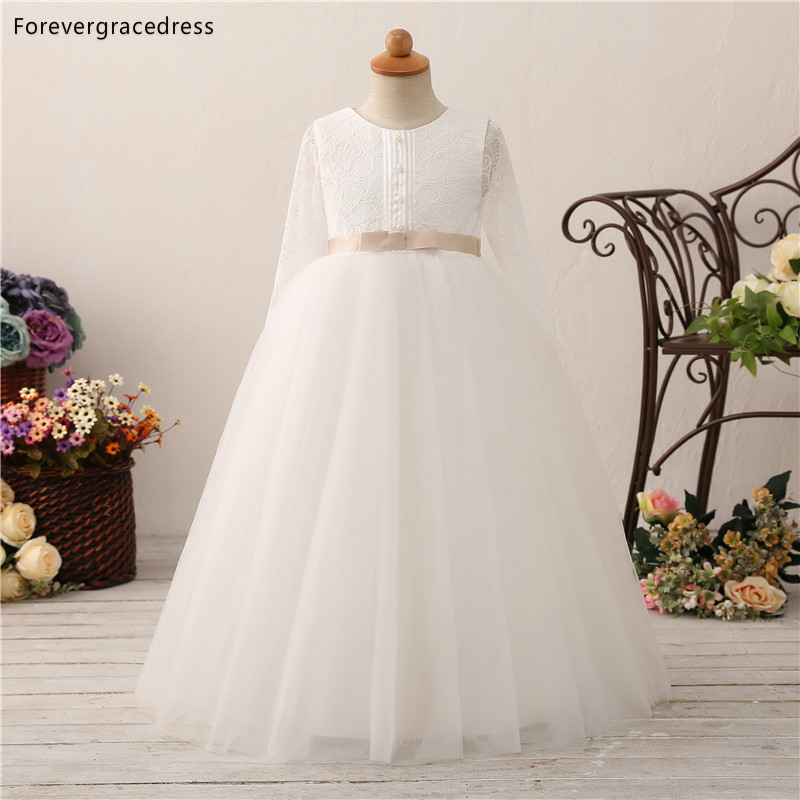 Forevergracedress White   Flower     Girls     Dresses   2019 A Line Tulle Long Sleeves Lace Kids Pageant Children Gowns