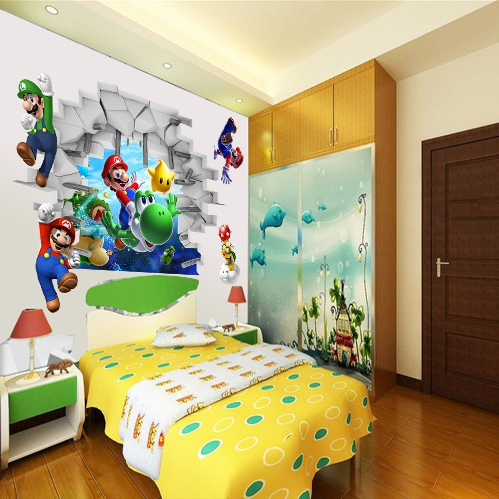 Kids Nursery Super Mario Bros 3D View Art Wall Stickers Decals Mural Home  Decor in Wall Stickers from Home   Garden on Aliexpress com   Alibaba Group. Kids Nursery Super Mario Bros 3D View Art Wall Stickers Decals