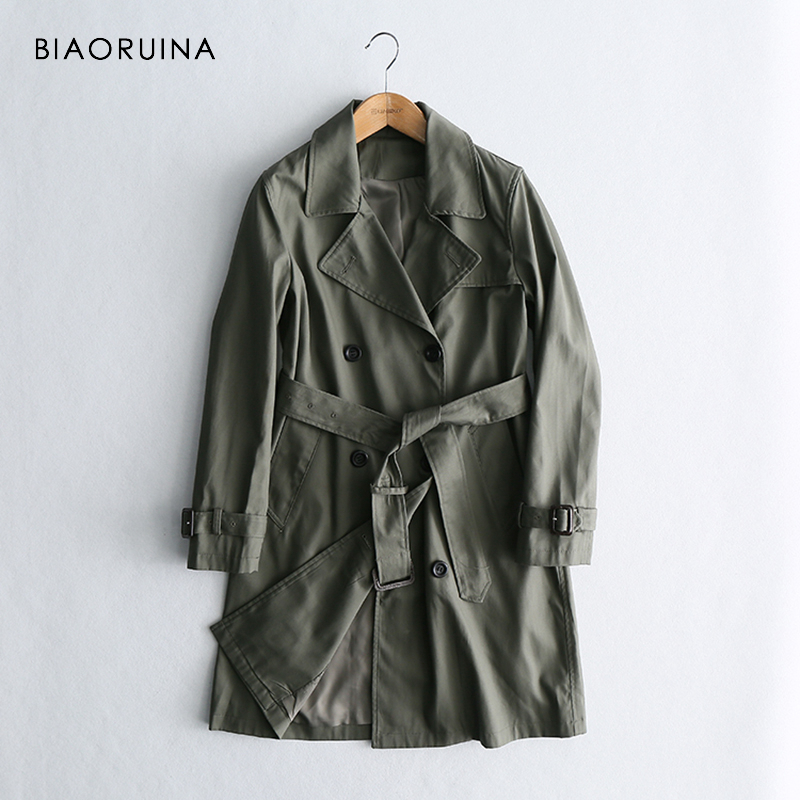 BIAORUINA Women's Elegant Long Trench Coat Women Double Breasted Outerwear England Style Female Classic Coat Turn-down Collar