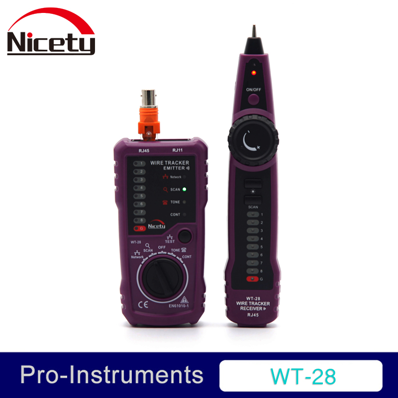 Nicety WT-28 RJ11 RJ45 Telephone Wire Tracker Toner Ethernet LAN Network Cable Tester Detector Line Finder Null fwt01 network lan ethernet wire tracker finder detector