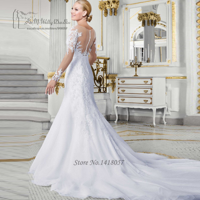 47474418cc Vestido de Noiva Com Manga Suknie Ślubne Syrenka Sereia Russian Style  Koronkowa Suknia 2017 Suknie Ślubne