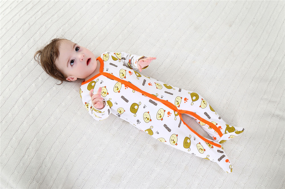 61b1831c0 3PCS Lot Newborn Baby Cotton Rompers Infant Long Sleeve Foot Covere ...