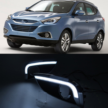Car Flashing LED Daytime Running Lights For Hyundai IX35 IX 35 2010 2011 2012 2013 DRL fog lamp cover with turn signal lamp