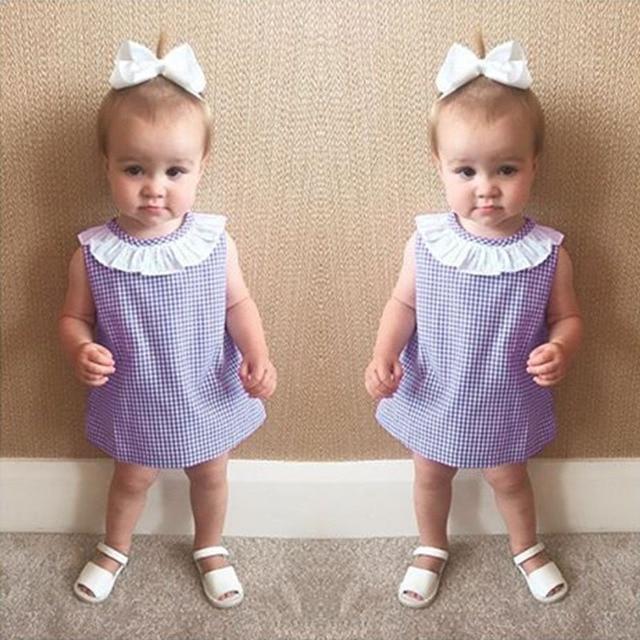 f9c00e6e77c32be CN От 0 до 2 лет Детские платья для девочек хлопок фиолетовый тонкой  решетки белый в