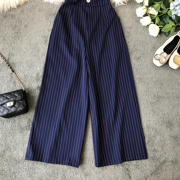 2019 Spring and Summer Korean New Stripe High Waist Open-back Jumpsuit Women Sleeveless Broad-legged Overalls G794 34