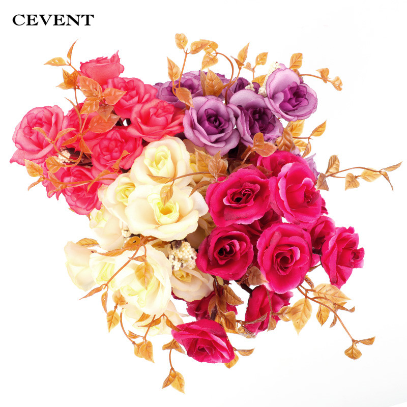 Artificial Handmade Decor Silk Peony Flowers in Jute Bucket with Rope Handle
