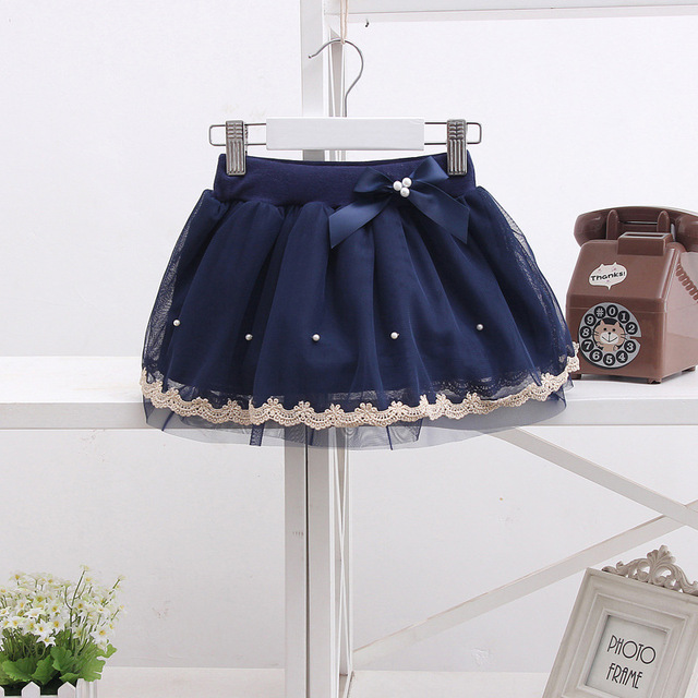 Newest Direct Selling Girls Beautiful Pearl Skirts Girls Gauze Skirt Girl Dance Party Princess skirt with bowknot child clothes