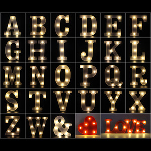 Image 5 - 3D White 26 Letter Alphabet LED Light Marquee Sign Night Light Wall Hanging Lamp Bedroom Wedding Birthday Party Decor