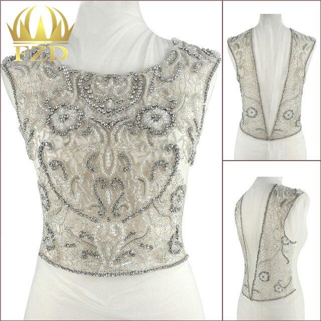 1 Set Luxury stone Beaded Crystal Rhinestone Applique Patches for Wedding  Dress DIY Bridal garment 8c3f09e77b41