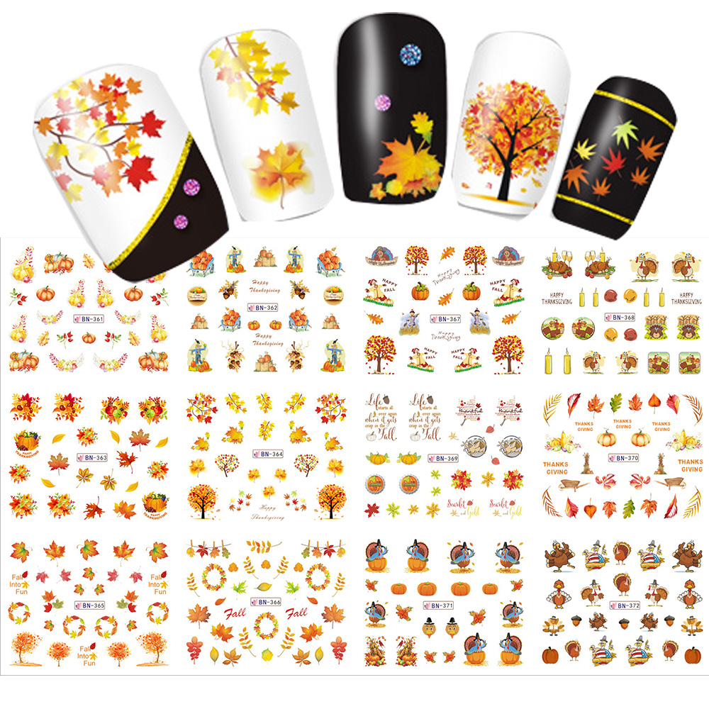 12 Designs in 1 set Water Transfer Sticker Thanks Giving Theme Maple Leaf Design for Nail Art Decorations  Full Warp SABN361-372 arsenic in water for human consumption