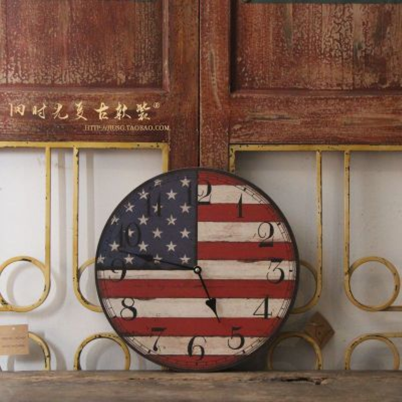 Vintage Tuscan Style Paris Wood Wall Clock American Flag