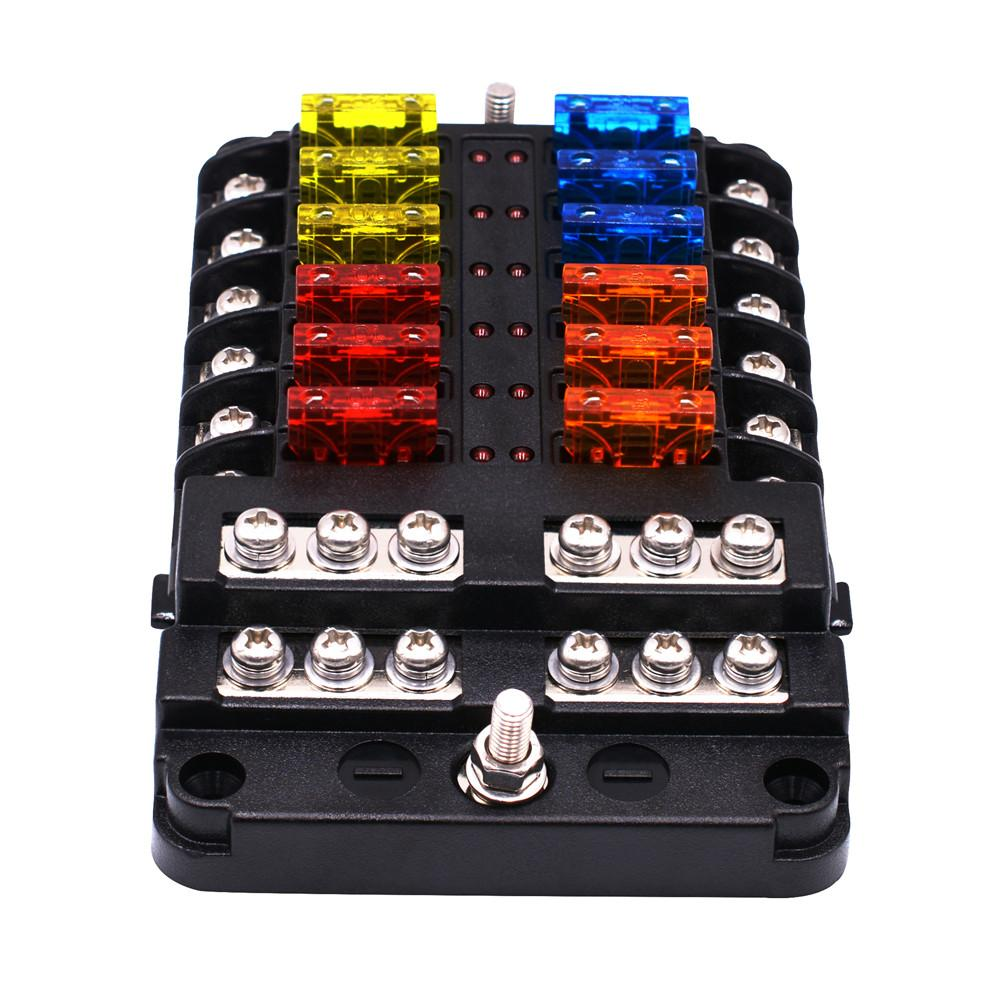 12 Ways Fuse Box With Led Indicator For Car Boat Bus Yacht Fuses With Independent Positive And Negative 100% High Quality Materials