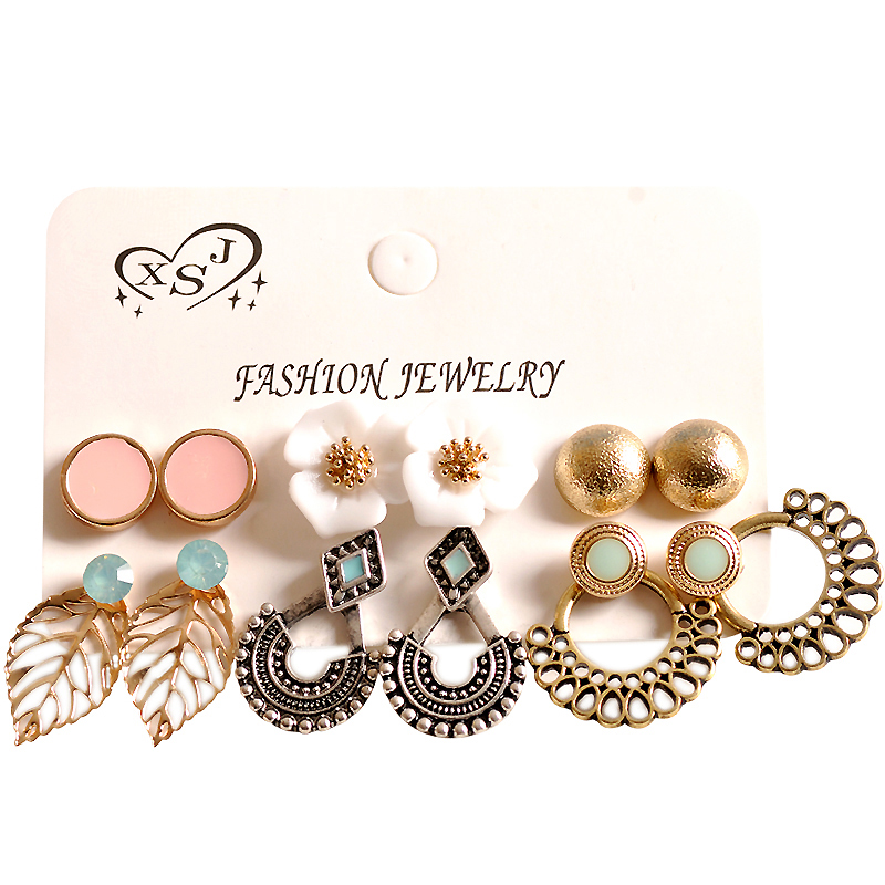 2018 fashion womens jewelry wholesale girls birthday party pearl earrings set mashup 6 pairs /set earrings Free shipping
