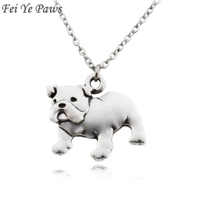 Fei Ye Paws Punk English Bulldog Dog Pet Pendant Necklace for Women Men Jewelry Chocker Girls Gift Stainless Steel Long Chain