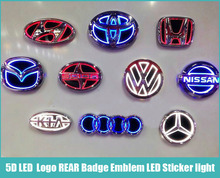 1 piece 5D WHITE RED BLUE Led Car styling Parking Logo REAR Badge Emblem LED Sticker light lamp for All Cars Models