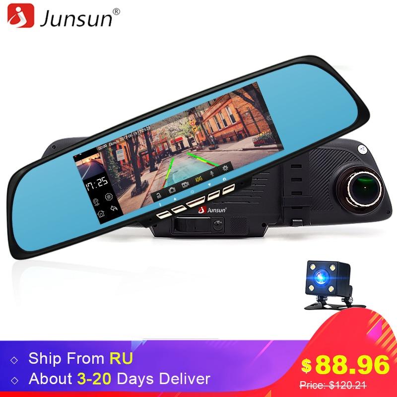 Junsun Car Mirror Camera DVR Android GPS 6.86 FHD 1080P WIFI Dual Lens Dash cam Rearview Mirror Video Recorder Automobile DVR original anytek a30 dual lens auto dvr camera car video recorder rearview mirror 1080p g sensor dash cam