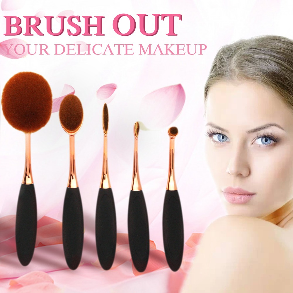 5 Pieces Makeup Brush Oval Foundation Professional Powder Eyebrow Make up Brush Set