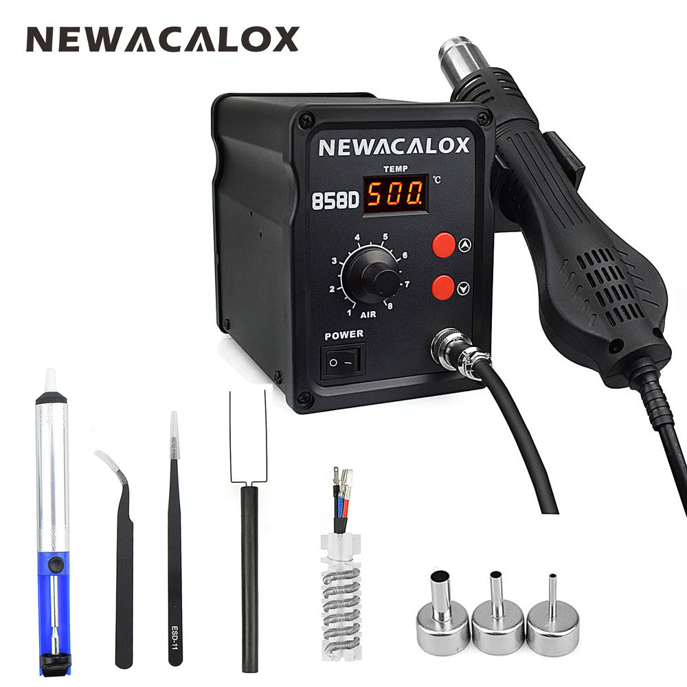 NEWACALOX 858D 700W 220V EU 500 Degree Hot Air Rework Station Thermoregul LED Heat Gun Blow Dryer for BGA IC Desoldering Tool newest design evening bags ring diamond clutch chain shoulder bag purses wedding party banquet bag blue gold green red 88621 d