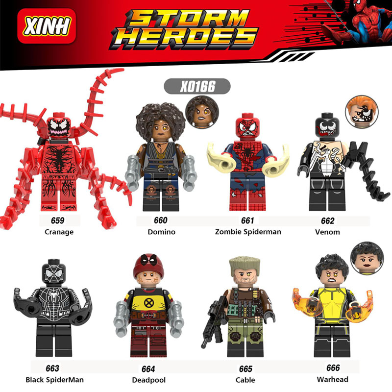 все цены на X0166 Super Heroes Deadpool 2 Domino Electric Cable Peter Warhead Spiderman Bricks Building Blocks Toys Gifts For Children