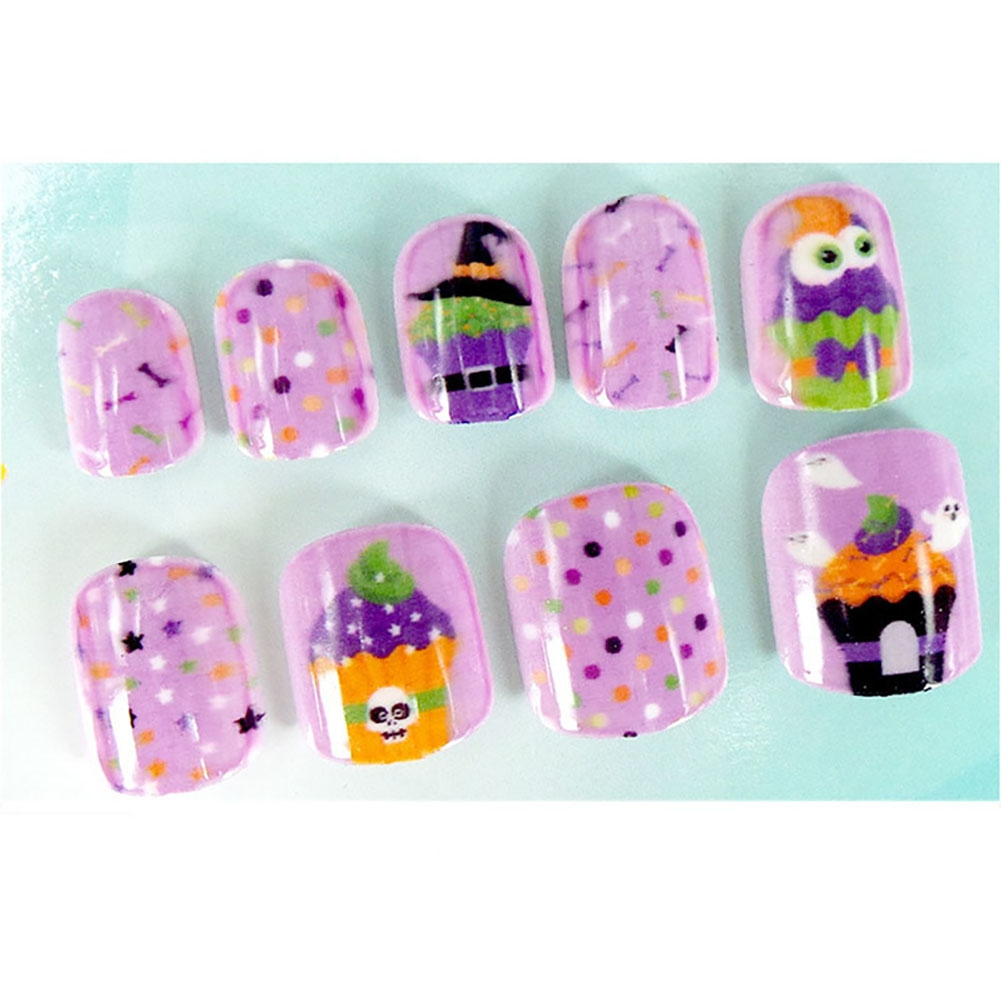 LEARNEVER 24pcs New Style Fake Nails Halloween Ghost Head Fake Nails ...
